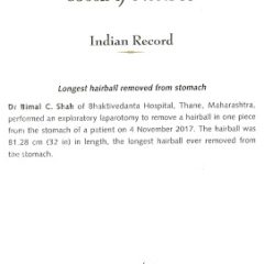 Dr B.C Shah makes it into Limca Book of Records